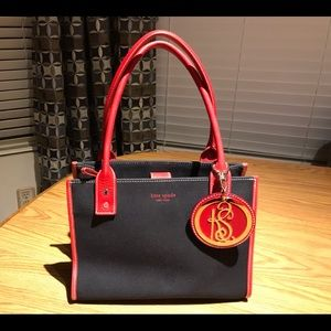 Kate Spade Black Canvas Red Trim Tote Handbag